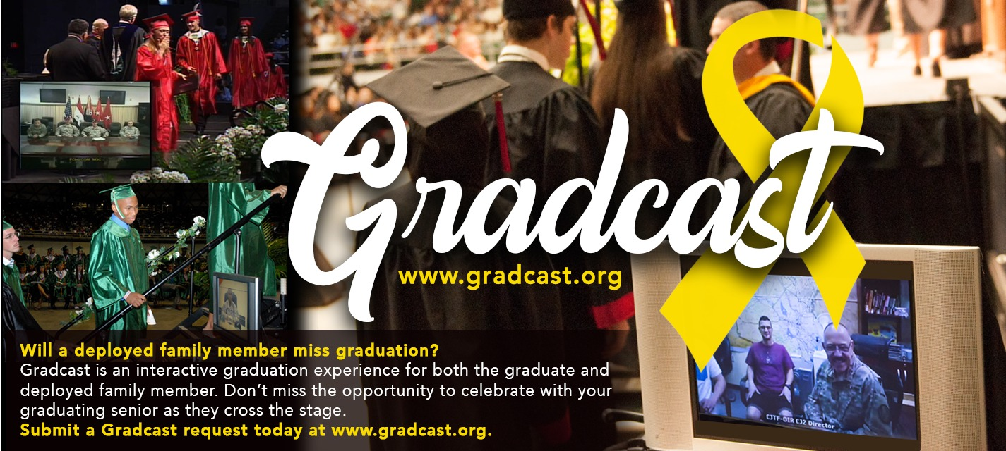 Students dressed in graduation regalia, text reads Gradcast.org