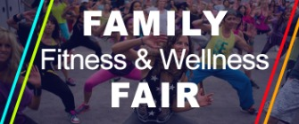 Family Fitness and Wellness Fair, picture of people exercising in the background.