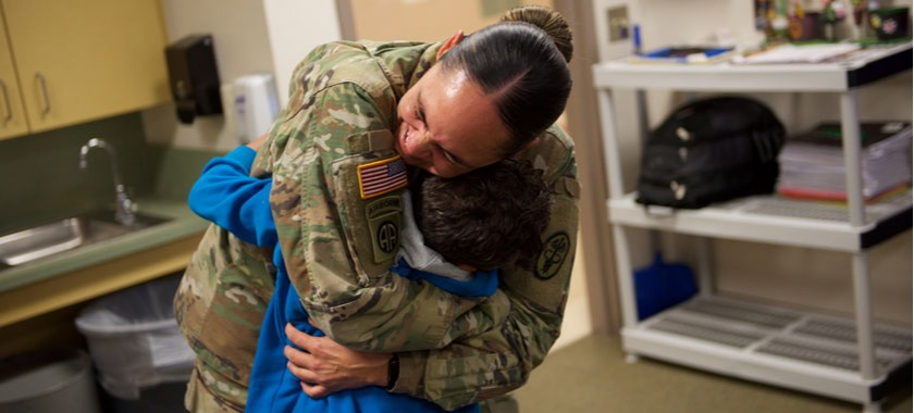 Soldier Surprises Son at School