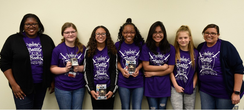 Eastern Hills takes a group photo after taking first place at the Book Battle competition.