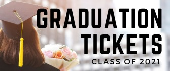 Graduation Ticket web banner, black and white background of students wearing their graduation regalia at Bell Count Expo Center, with text that reads Class of 2019, Graduation Tickets.