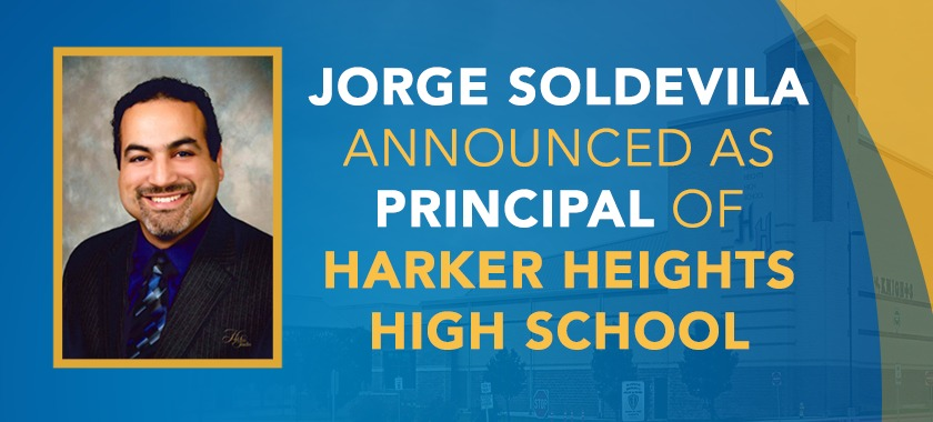 Text reads: New Principal Announced For Harker Heights HS