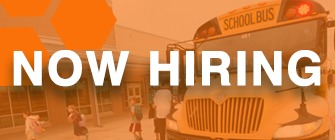 Orange rectangle with a bus in the background and text that reads: We're Hiring!