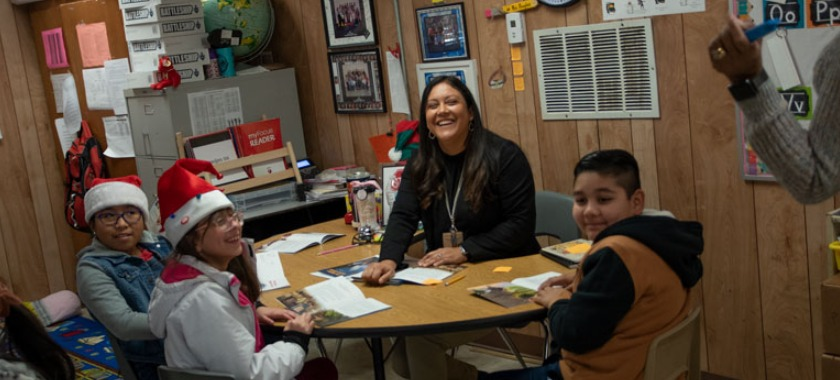 Teacher Sonia Douglas is completed surprised by the Spotlight Crew coming to her classroom