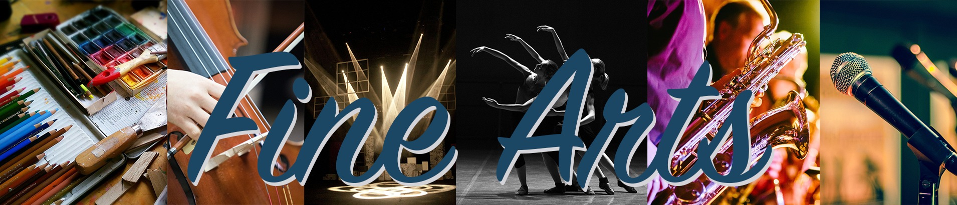 Fine Arts Web Banner, art supplies, dancers with spotlight, people playing instruments and a microphone on a stand.