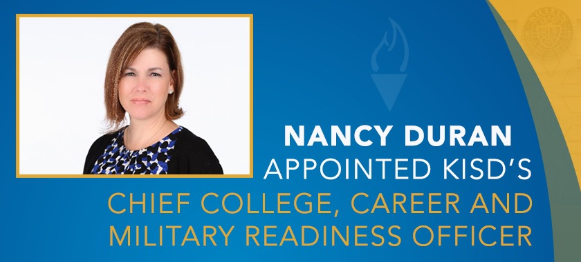 Picture of Ms. Nancy Duran, text reads Nancy Duran appointed Chief College, Career Officer